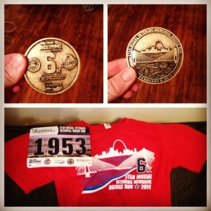 Medallion, race bib, and t-shirt for the 6K on Saturday!