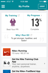 13% done with the Nike Half Marathon training!