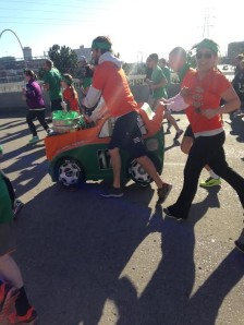 This race is definitely full of many different types of runners! This was a group of people running with a keg on wheels while loudly blasting Irish music!