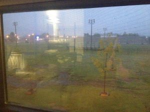 The view of the morning outside our dorm window. A little wet, dark, and chilly.