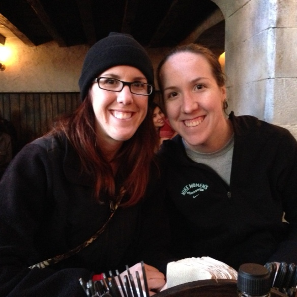 Kathleen and I at a restaurant at Harry Potter in Universal Studios!