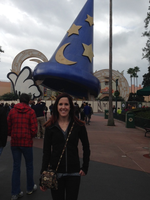 In front of the Sorcerer's Hat in Hollywood Studios that they are taking down
