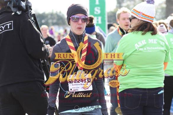 Looking exhausted after crossing the finish line!