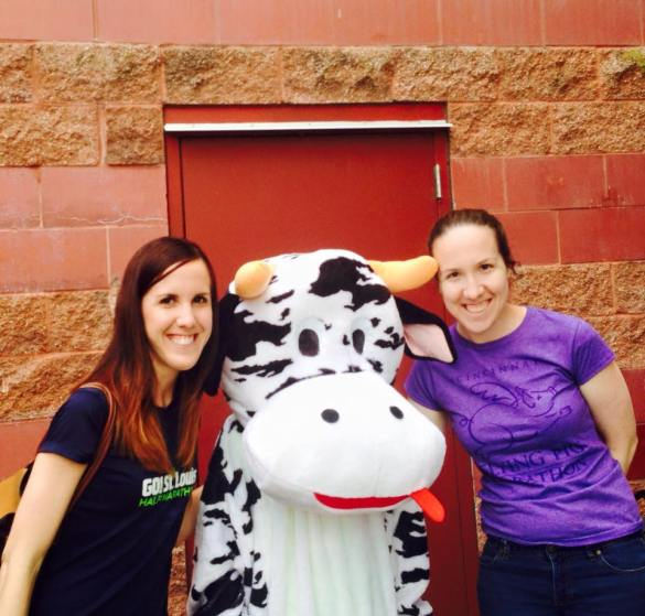 With a cow outside the packet pickup!