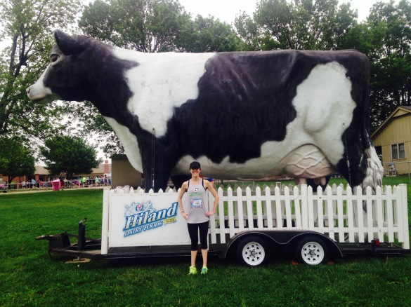 With a giant cow before the start